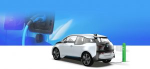 Electric Vehicle Charging Stations animation with bmw plugged in